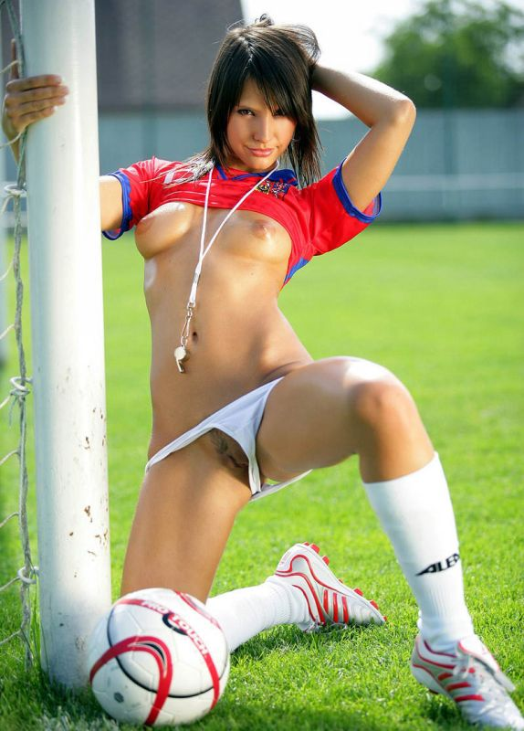 Nude girls playing football
